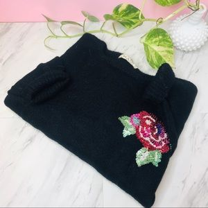 vtg vsco floral beaded fuzzy black sweater